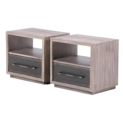 "Pair of Restoration Hardware Teen ""Colbin"" Kiln-Dried Wood and Steel Nightstands"