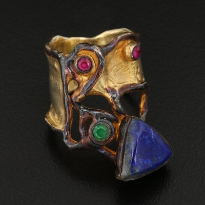 Brutalist Style Sterling Lapis Lazuli, Ruby and Emerald Ring