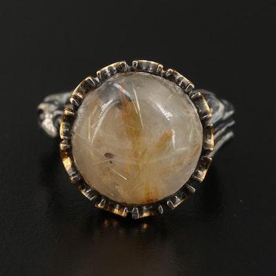 Sterling Rutilated Quartz Asymmetrical Ring