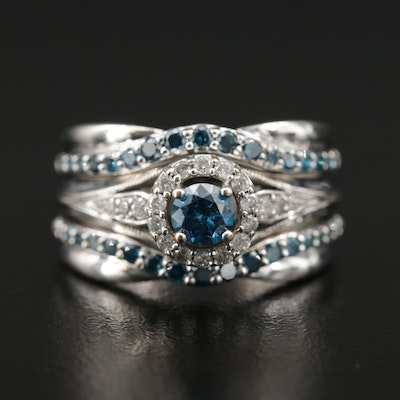 10K Blue Diamond and Diamond Ring
