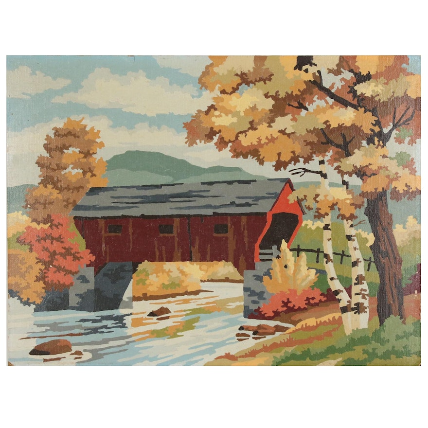 Vintage Paint-by-Number of Covered Bridge in Autumn