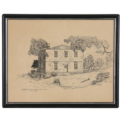 """Ink Drawing """"Lockwood House, Harpers Ferry, W. Va. (Built 1848)"""""""