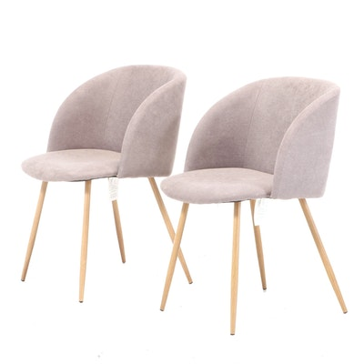 Pair of Creative Co-Op Inc. Modernist Style Grained Metal and Upholstered Chairs