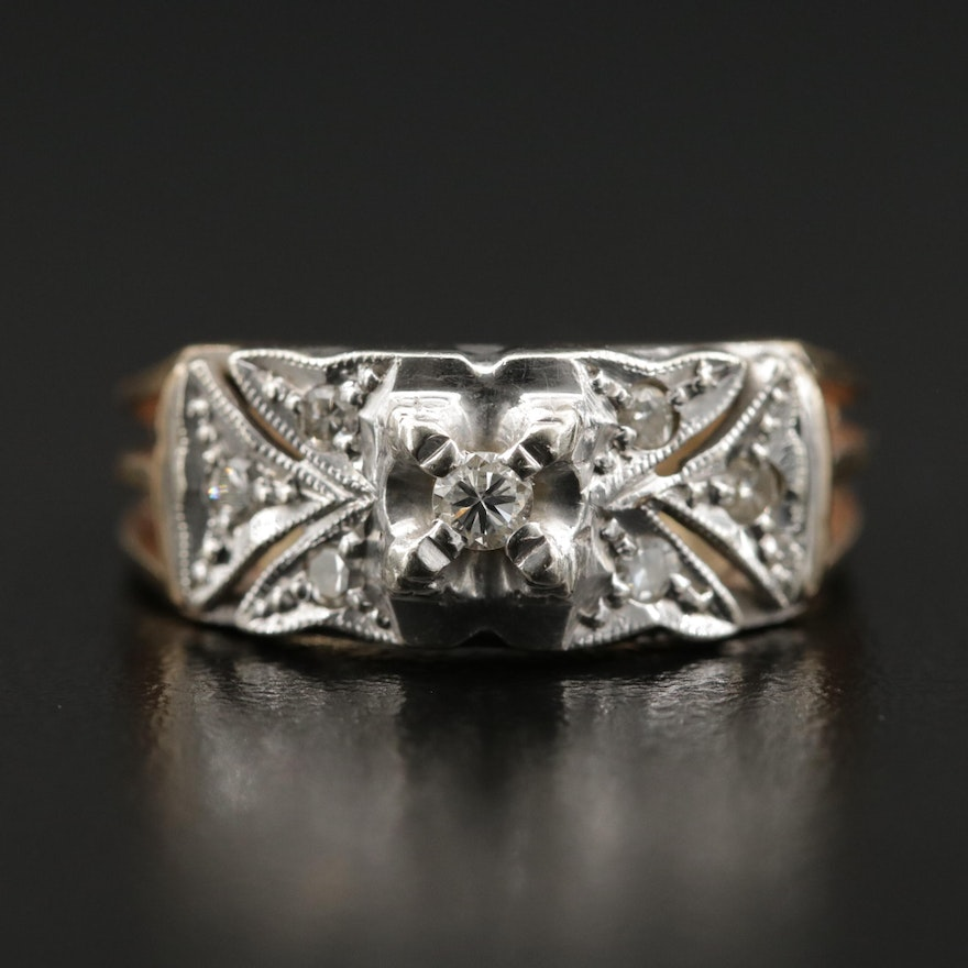 14K Gold Diamond Ring with White Gold Accent