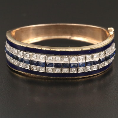 Vintage 14K and Platinum 1.14 CTW Diamond, Sapphire and Enamel Bracelet
