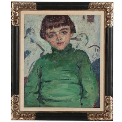 """Alfred Wolmark Oil Painting """"Portrait of the Artist's Son, David"""""""