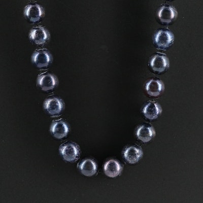 Blue Pearl Necklace with 14K Clasp