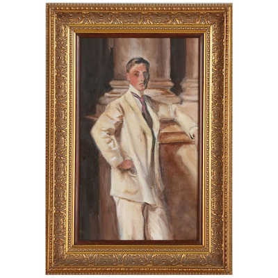 Portrait Oil Painting of Young Man in White Suit
