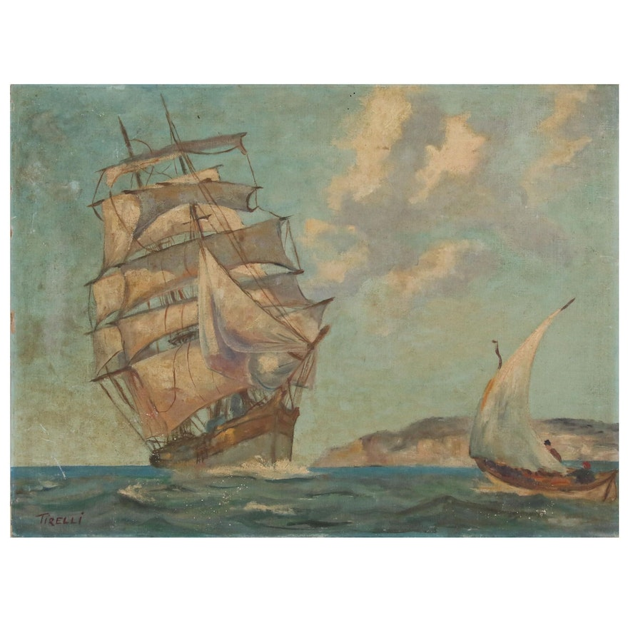 Nautical Oil Painting of Clipper Ship, 20th Century