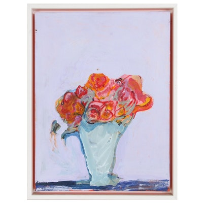 Helen M. Weiss Floral Still Life Acrylic Painting