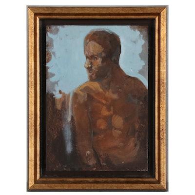 """Michel Houplain Figure Oil Painting """"Etude d'Homme"""""""