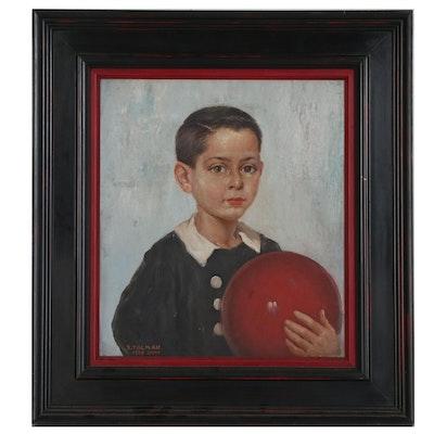 Silvio Talman Portrait Oil Painting of Boy with Ball