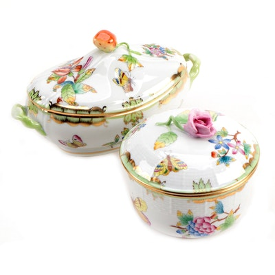 "Herend ""Queen Victoria"" Porcelain Candy Box and Sugar Bowl"