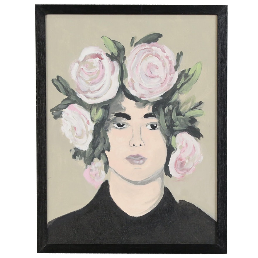 Portrait Acrylic Painting of Figure with Floral Headdress
