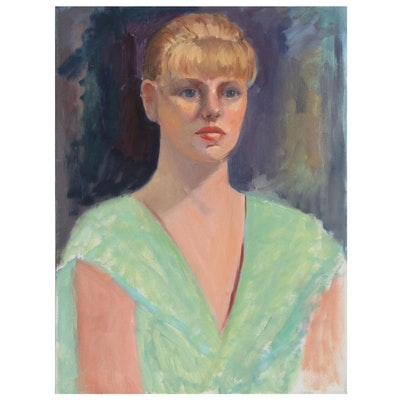 Portrait Oil Painting of Young Woman
