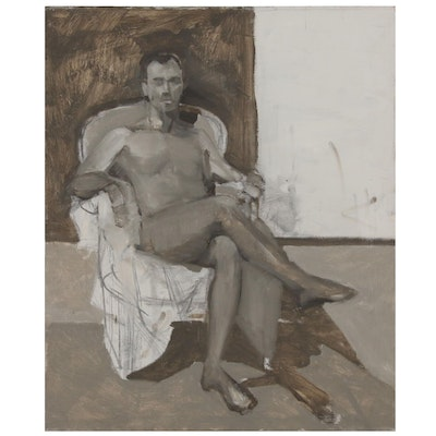Figure Oil Painting of Seated Male Nude