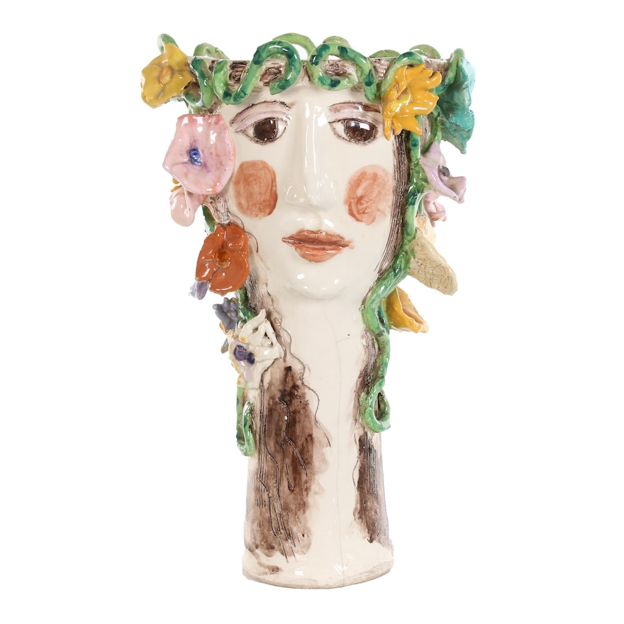 Sue and Russ Bolt Double Faced Glazed Ceramic Sculptural Vase, Late 20th Century