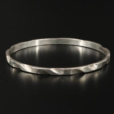 Vintage Mexican Sterling Silver Patterned Bangle Bracelet