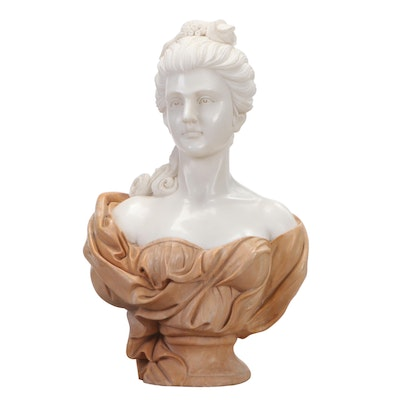 Life-Size Marble Bust of an 18th Century Lady