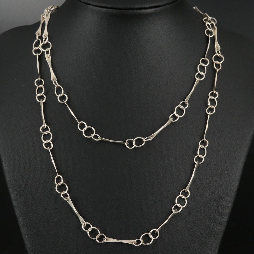 Sterling Silver Elongated Fancy Link Necklace