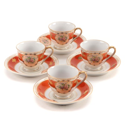 Occupied Japanese Porcelain Demitasse Cups and Saucers, 1945–1952