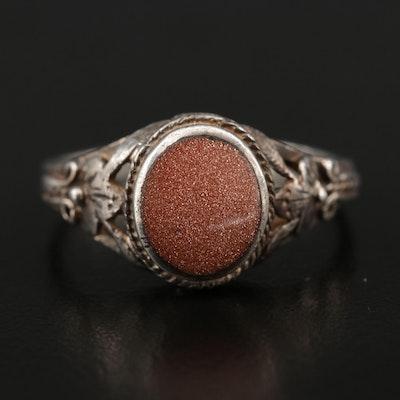 Sterling Sunstone Glass Ring