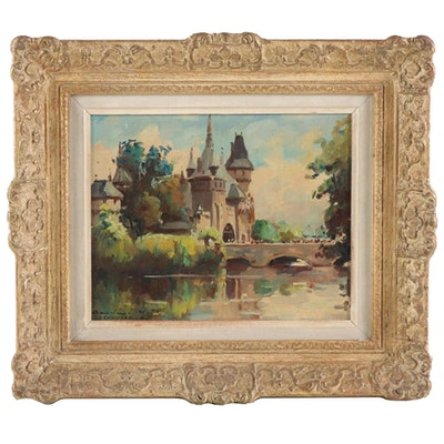 Oil Painting of a European Castle, Mid-20th Century