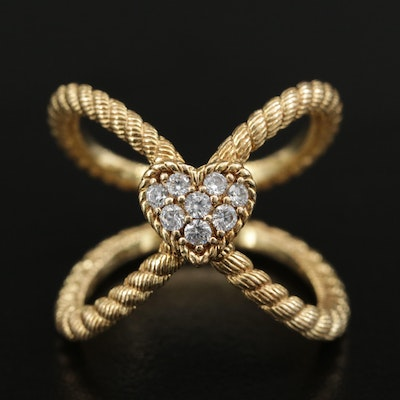 Judith Ripka Sterling Heart and Rope Motif Ring