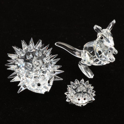 Swarovski Silver Crystal Kangaroo and Porcupine Figurines