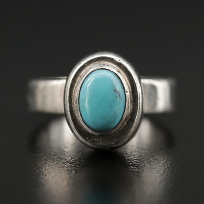 Sterling Bezel Set Turquoise Ring