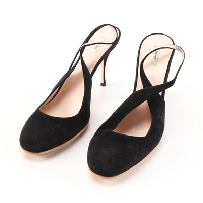 Miu Miu Black Suede High Heel Slingback Pumps