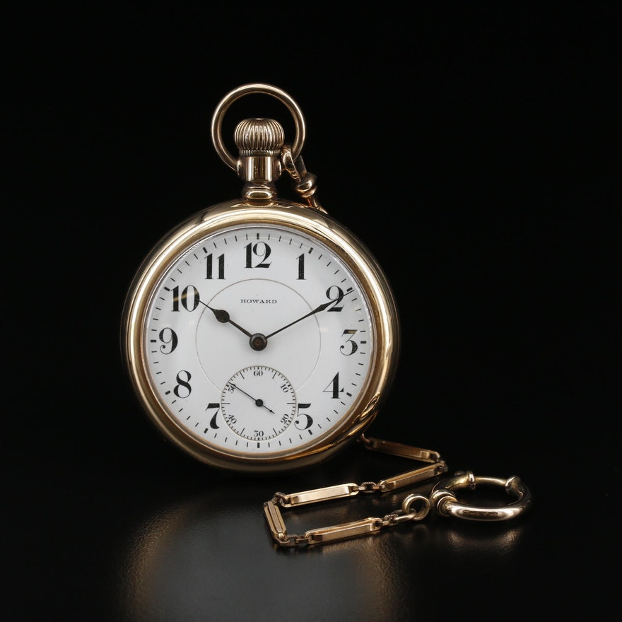 1908 E. Howard 14K Gold Filled Open Face Pocket Watch With Fob
