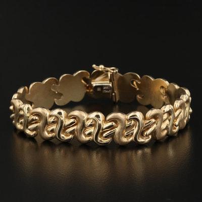 14K Curved Crossover Link Bracelet