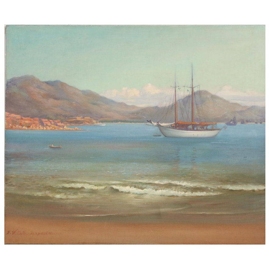 John Orth Nautical Oil Painting, Mid-Late 20th Century