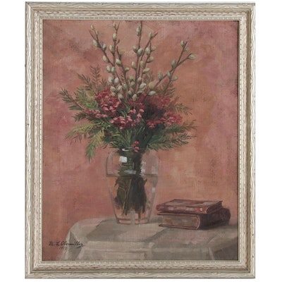 "Marie Louise Obermiller Still Life Oil Painting ""Easter Bouquet"", 1917"
