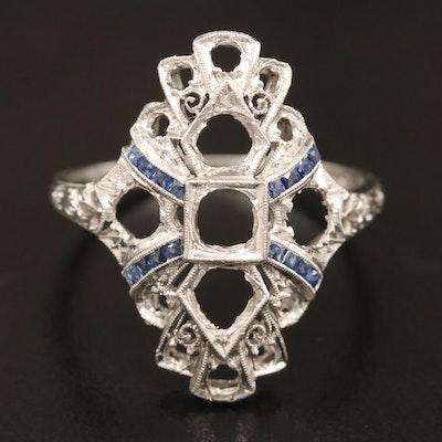 Art Deco Platinum Sapphire Semi-Mount Ring