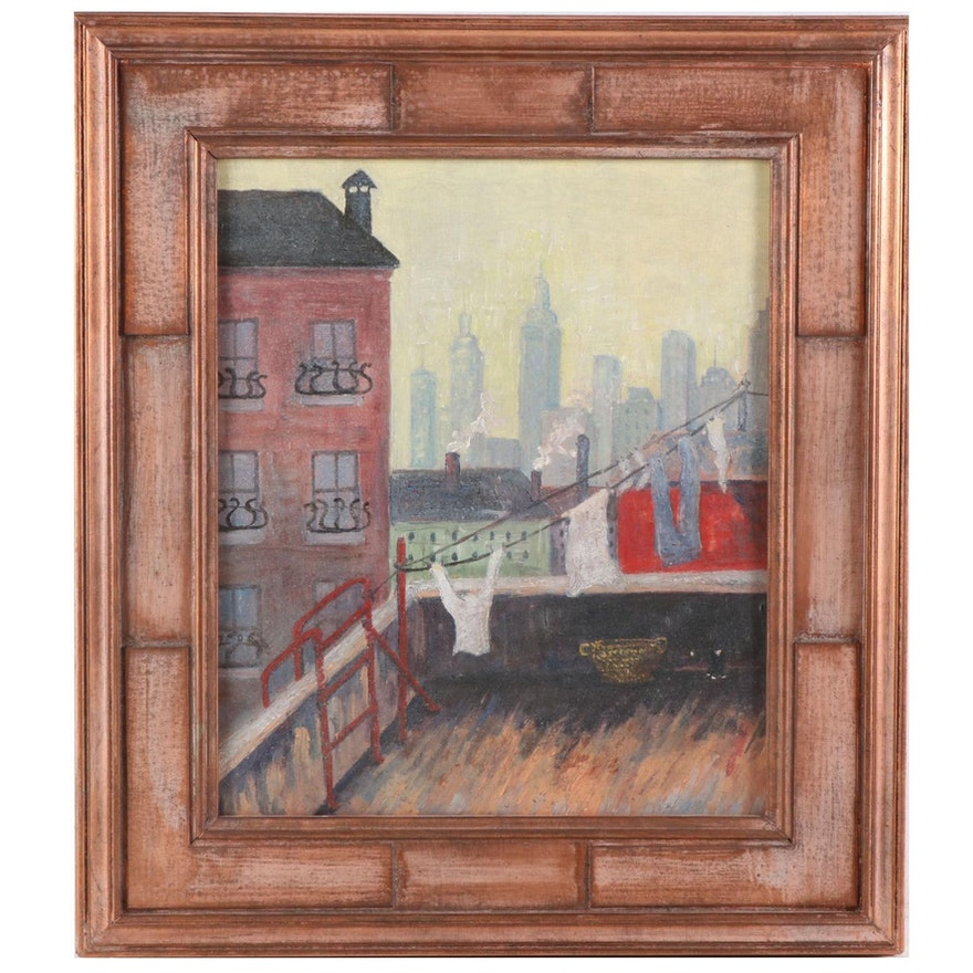 Cityscape with Laundry Oil Painting, Mid-20th Century