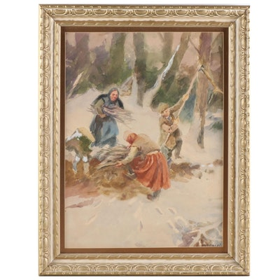 Russian Peasant Winter Scene Watercolor Painting