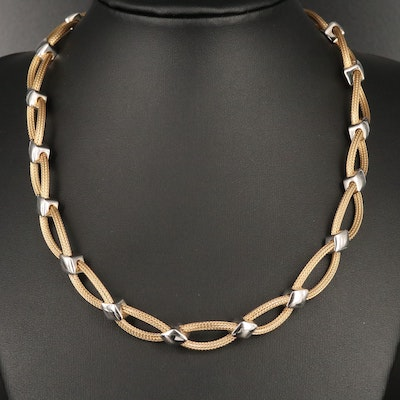 14K Entwined Double Wheat Chain Necklace