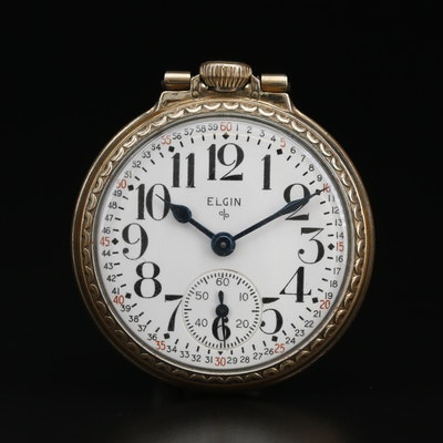 1951 Elgin 10K Rolled Gold Plate Open Face Pocket Watch
