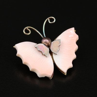 Carved Shell Butterfly Brooch
