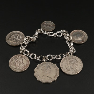 Sterling Bracelet with Foreign Coins of Japan, Sweden, Switzerland and Hong Kong