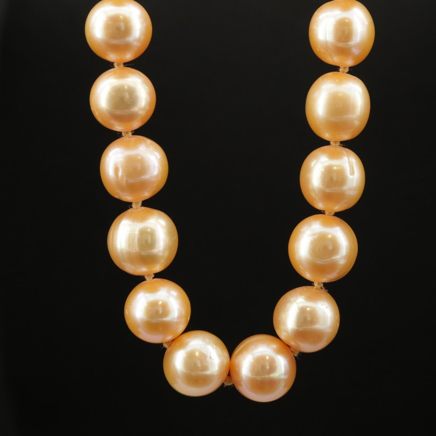Orangish Yellow Pearl Necklace with 14K Clasp