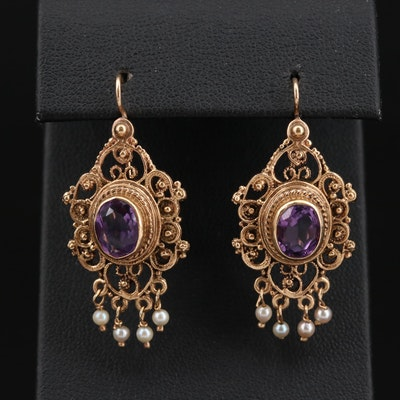 14K Gold Amethyst and Seed Pearl Motif Earrings