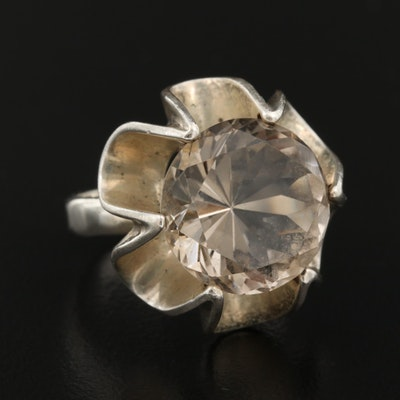 Vintage Sterling Buttercup Set Smoky Quartz Ring