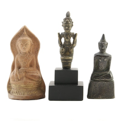East Asian Ceramic and Metal Buddha Figurines, Mid to Late 20th Century