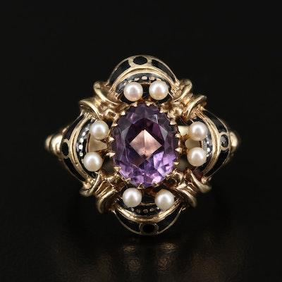 Vintage 14K Gold Amethyst, Seed Pearl and Enamel Ring