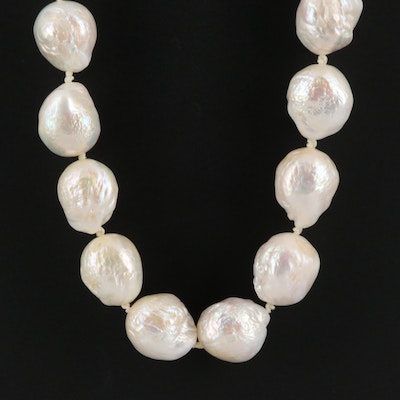 Cultured Pearl Necklace With 14K Diamond Accented Clasp