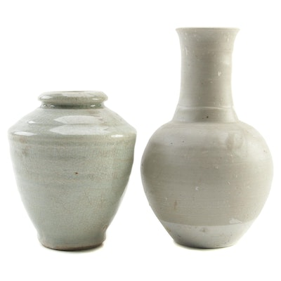 Thai Celadon Earthenware Vessels, Late 19th Century