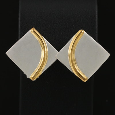 Sterling Geometric Clip-On Earrings with Satin Finish